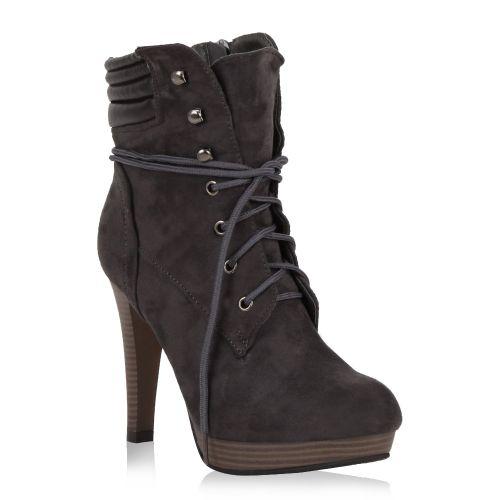 Damen Stiefeletten Plateau Boots - Dunkelgrau