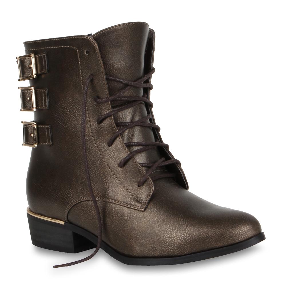Damen Stiefeletten Worker Boots - Gold