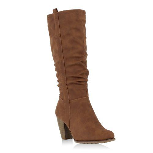 Damen Stiefel High Heels - Hellbraun