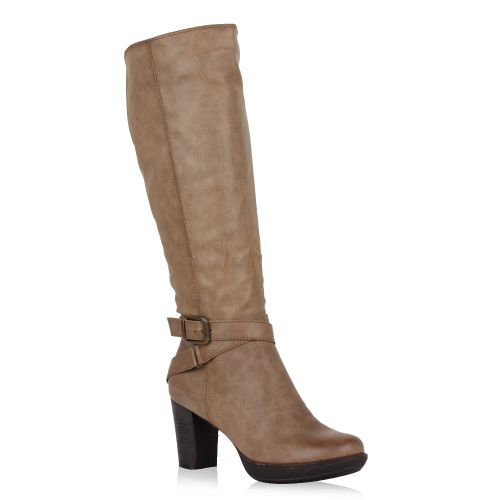Damen Stiefel High Heels - Khaki