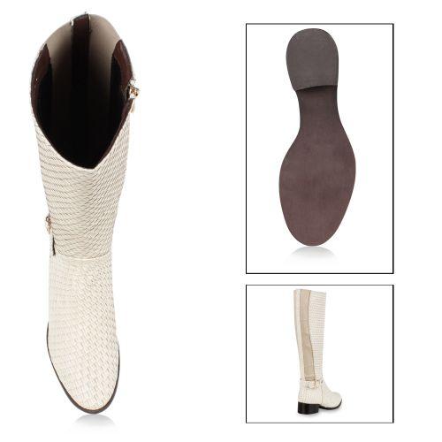 Damen Stiefel Reiterstiefel - Weiß