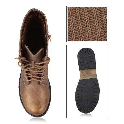 Damen Stiefeletten Worker Boots - Bronze