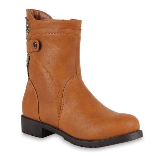 Damen Stiefeletten Biker Boots - Hellbraun