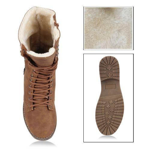 Damen Stiefel Worker Boots - Braun
