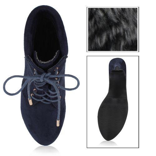 Damen Stiefeletten Plateau Boots - Blau
