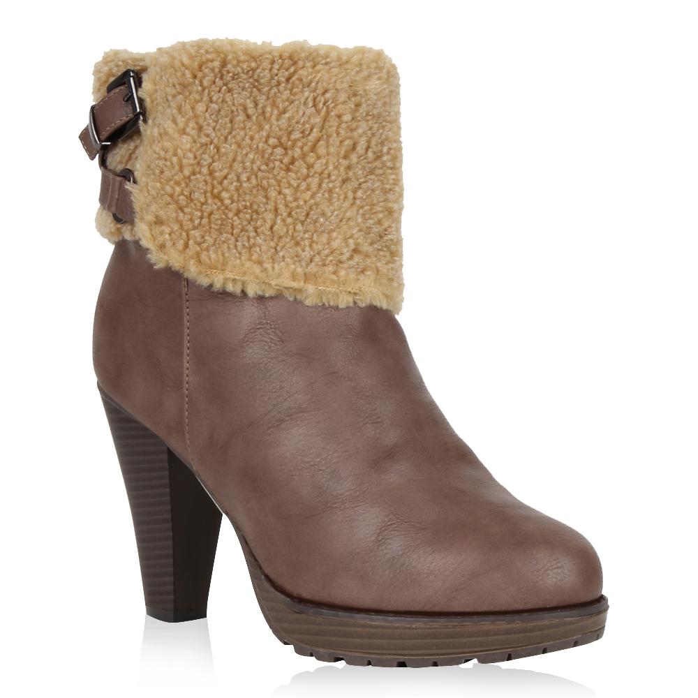 Damen Stiefeletten Plateau Boots - Khaki