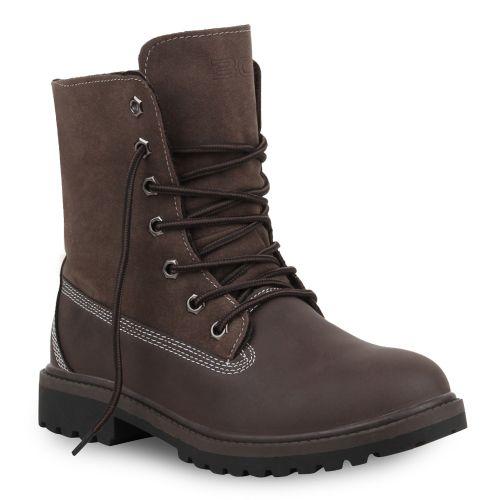 Damen Stiefeletten Worker Boots - Braun