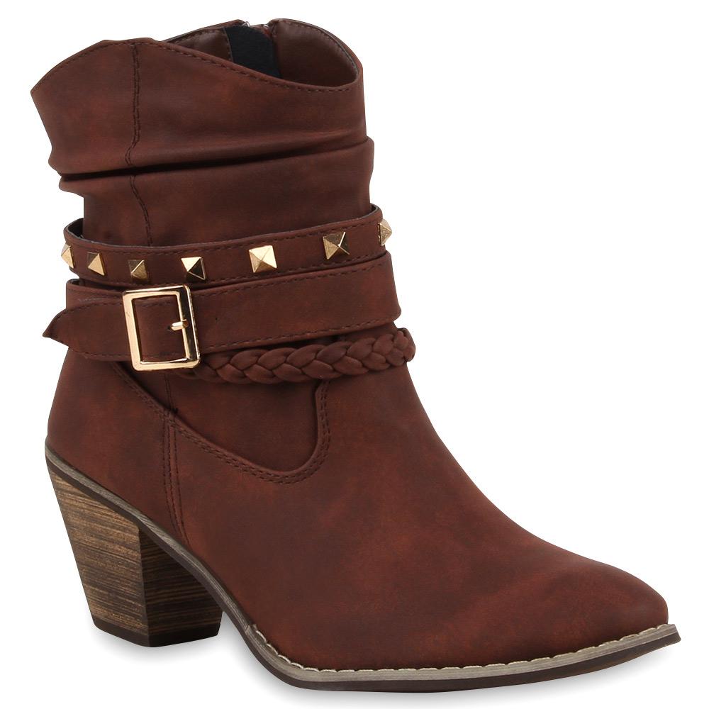 Damen Stiefeletten Cowboy Boots - Braun