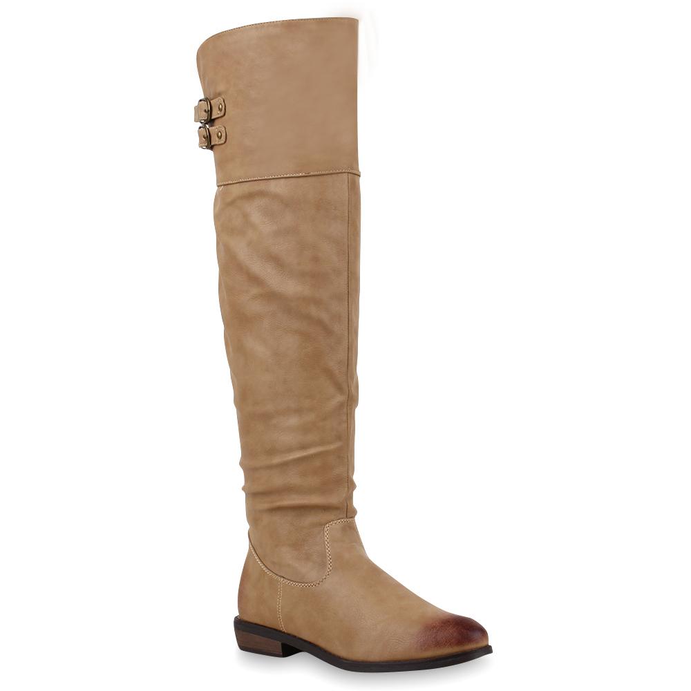Damen Stiefel Overknees - Beige