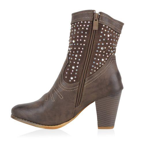 Damen Stiefeletten Cowboy Boots - Grau