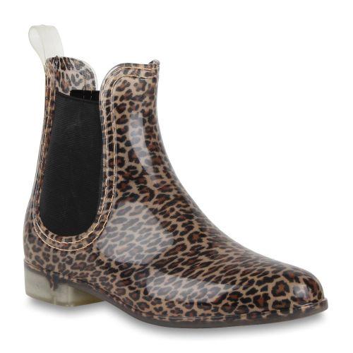 Damen Stiefeletten Gummistiefeletten - Leopard