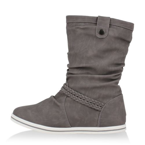Damen Stiefel Schlupfstiefel - Grau