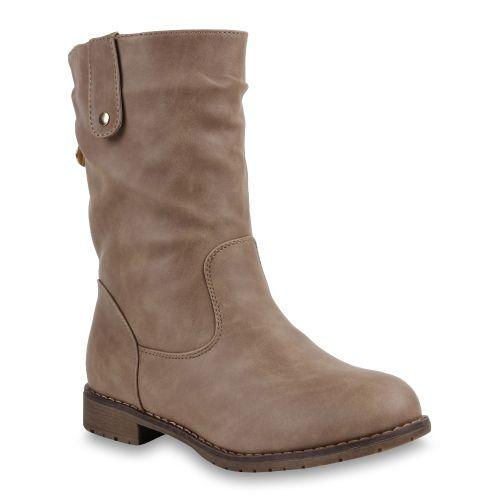 Damen Stiefel Biker Boots - Khaki
