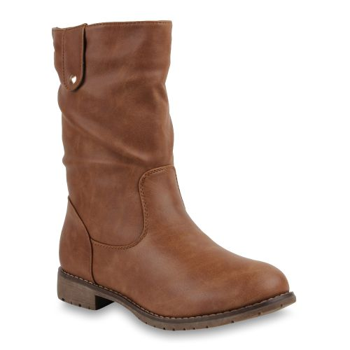 Damen Stiefel Biker Boots - Hellbraun