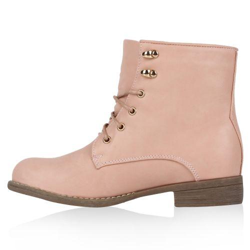 Damen Stiefeletten Worker Boots - Rosa - Deba
