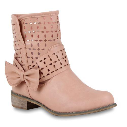 Damen Stiefeletten Schlupf Stiefel - Rosa - Casares