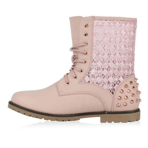 Damen Stiefeletten Worker Boots - Rosa - Riverdale