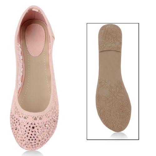 Damen Ballerinas Klassische Ballerinas - Rosa - Palmira