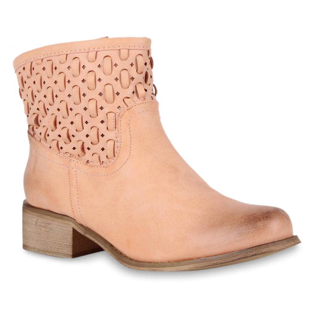 Damen Stiefeletten Cowboy Boots - Rosa - Catawissa