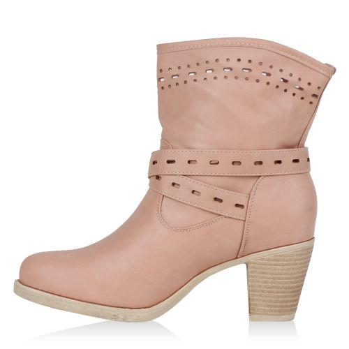 Damen Stiefeletten Schlupf Stiefel - Rosa - Panton