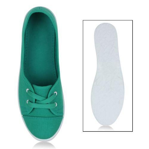 Damen Sportliche Ballerinas - Grün