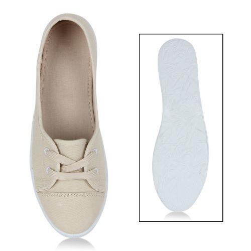 Damen Sportliche Ballerinas - Weiß Beige