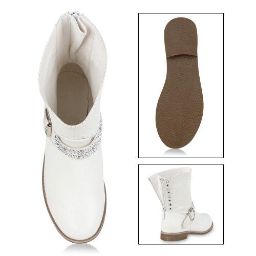 Damen Stiefeletten Biker Boots - Weiß