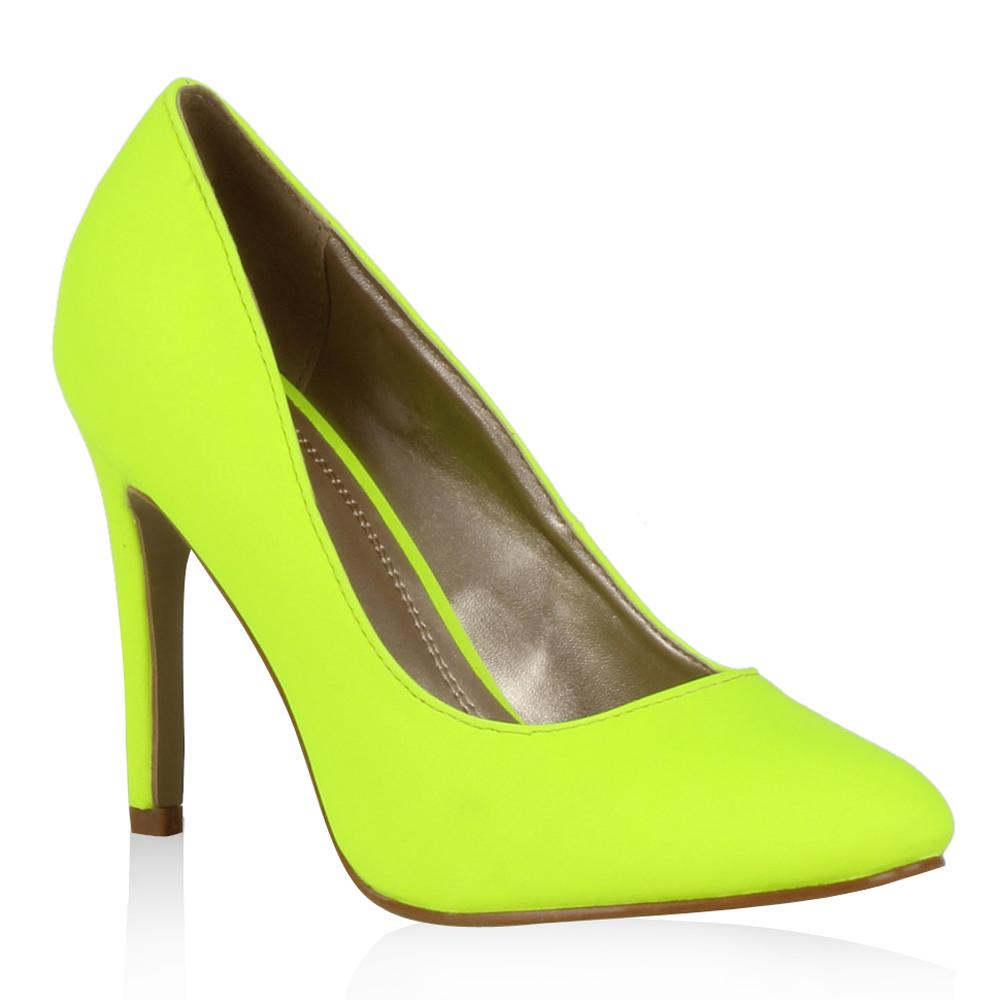 Damen Pumps High Heels - Neongelb
