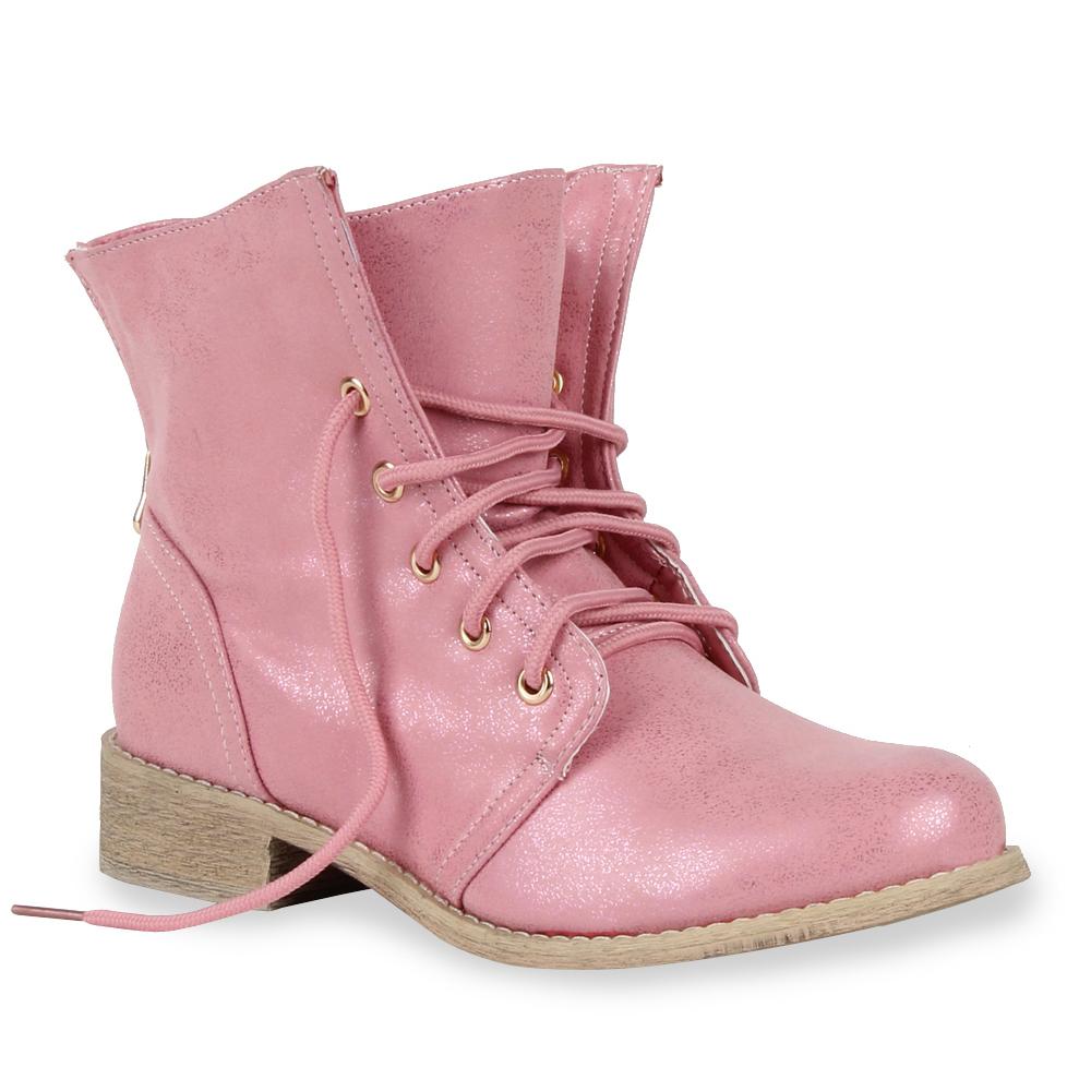 Damen Stiefeletten Worker Boots - Rosa - Finneytown