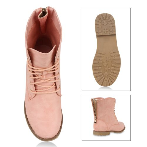Damen Stiefeletten Worker Boots - Rosa - Trimbelle