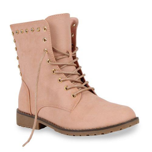 Damen Stiefeletten Worker Boots - Rosa - Whitney