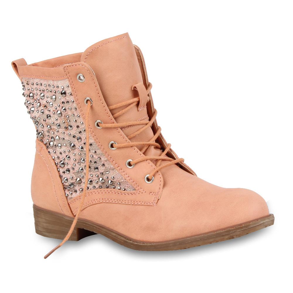 Damen Stiefeletten Worker Boots - Rosa - Marlton
