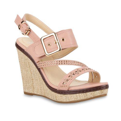 Damen Sandaletten Keil Sandaletten - Rosa - Fortuna