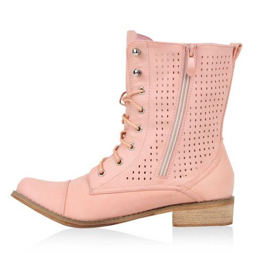 Damen Stiefeletten Worker Boots - Rosa - Farmingdale