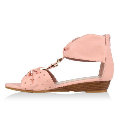 Damen Sandaletten Keil Sandaletten - Rosa - Fontanar