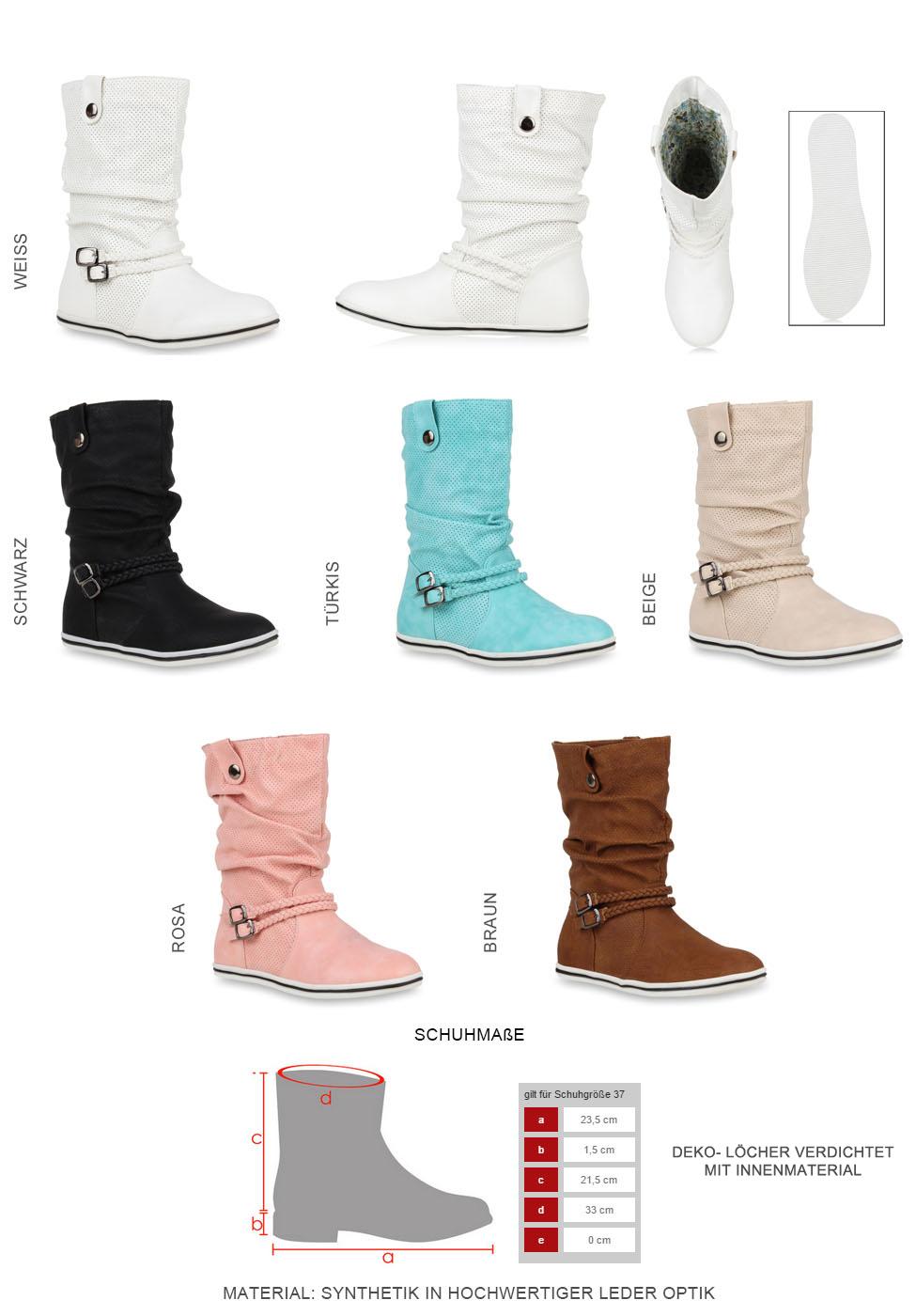 Bequeme Damen Stiefel Flache Schlupfstiefel 70991 Boots Gr 36-41 Schuhe