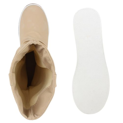 Damen Stiefel Schlupfstiefel - Beige
