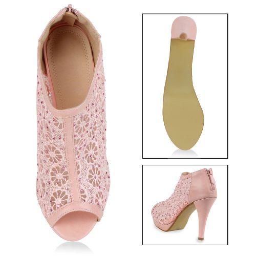 Damen Stiefeletten Ankle Boots - Rosa - Paraguari