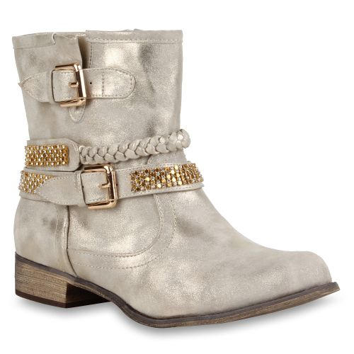 Damen Stiefeletten Biker Boots - Gold