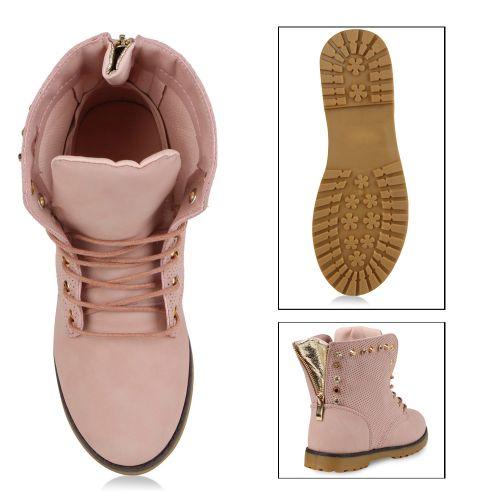 Damen Stiefeletten Worker Boots - Rosa - Beja