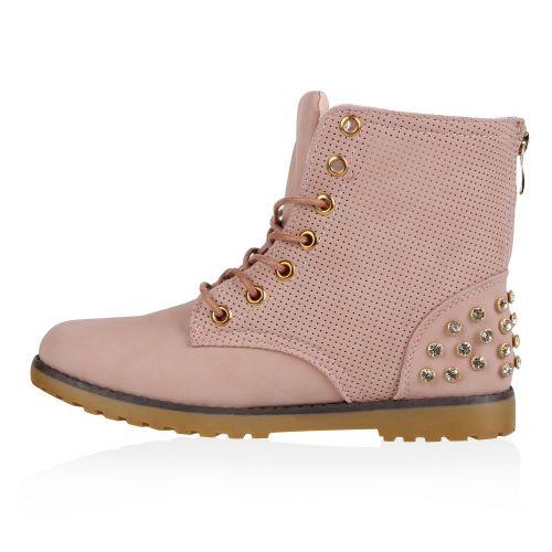 Damen Stiefeletten Worker Boots - Rosa - Gaines