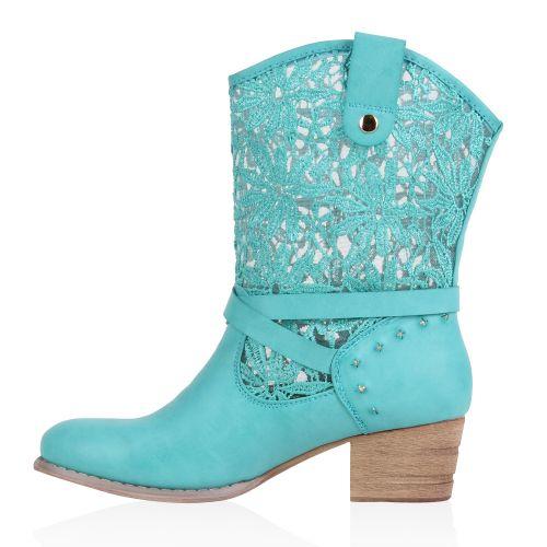 Damen Stiefeletten Cowboy Boots - Türkis