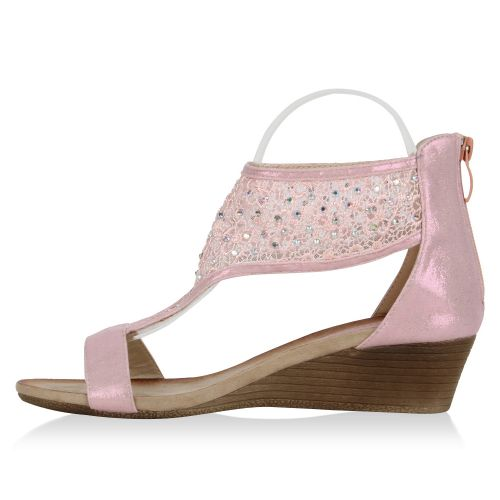 Damen Sandaletten Keil Sandaletten - Rosa - Parrish