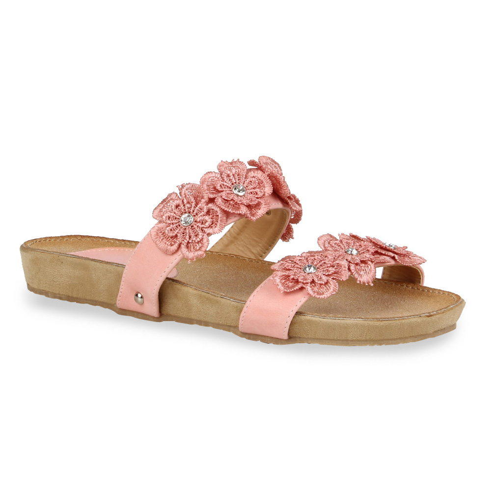 Damen Sandalen Pantoletten - Rosa - Salt