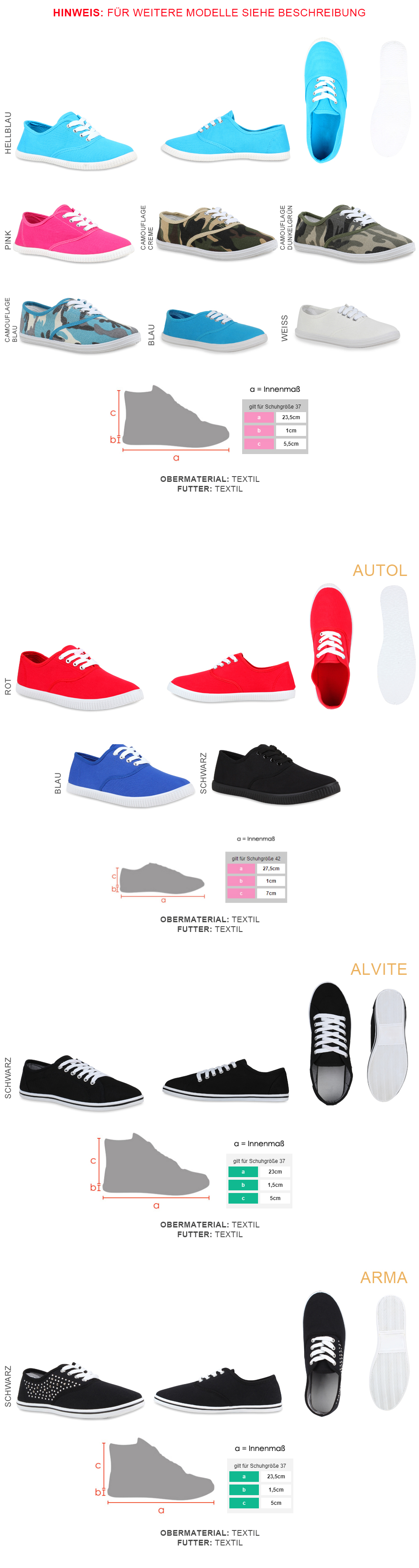d663c1e01d541a Damen Sneakers Trendfarben Stoffschuhe 71233 Sportschuhe Gr. 36-41 ...