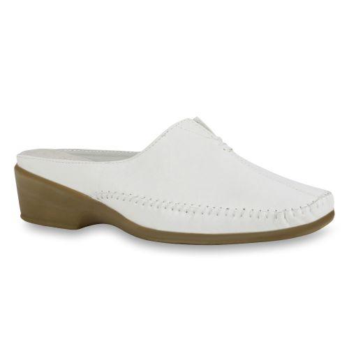 Damen Hausschuhe Mokassins - Weiß
