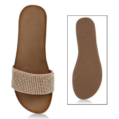 Damen Sandalen Pantoletten - Rosa - Bueu