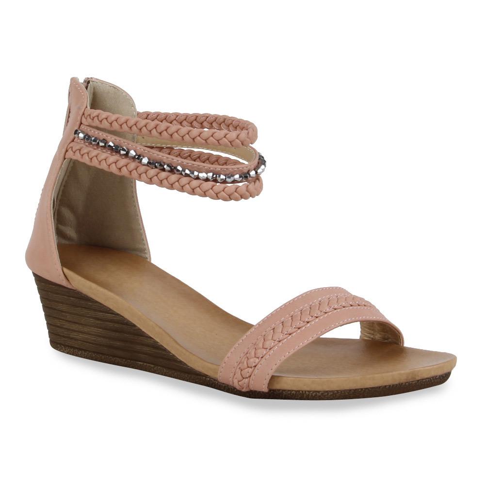 Damen Sandaletten Keil Sandaletten - Rosa - Chili