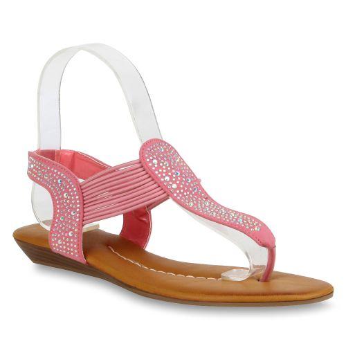 Damen Sandalen Zehentrenner - Coral