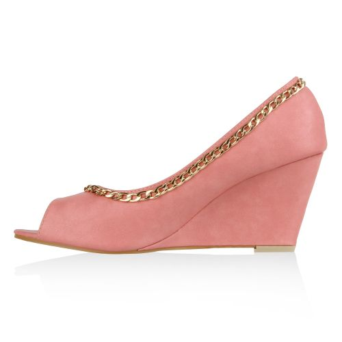 Damen Pumps Keilpumps - Rosa - Nisa